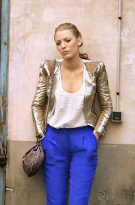 gossip girl season 4 serena gold balmain jacket bright blue pants 940ls092210