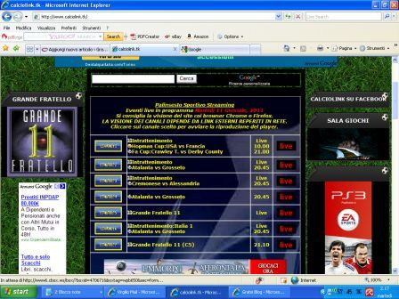 Su Calciolink.tk tutto il calcio dal vivo via web P2P