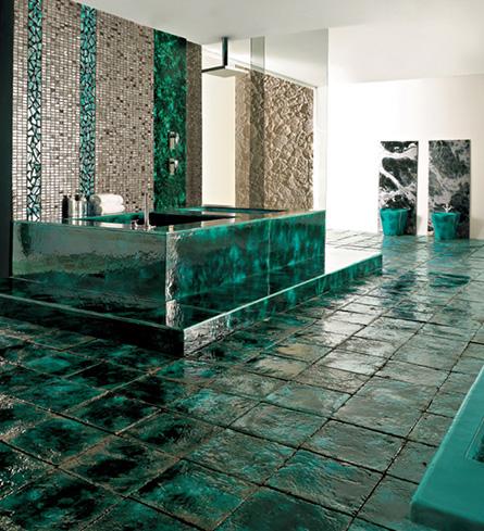 Bagno artistico e spese da sostenere - Bagno mosaico verde ...
