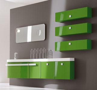 Mobili bagno di colori vivaci - Arredo bagno verde ...
