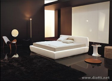 Moderno ed unico letto in pelle ren e - Camere da letto in pelle ...