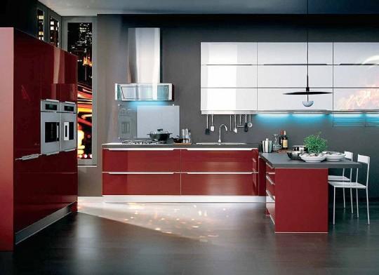 cucina rossa arredamento cucina : Cucina moderna brillante laccata rossa, di stile e design rinomato ...
