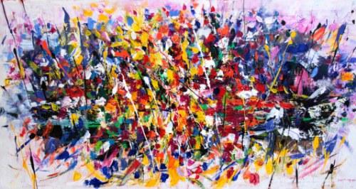 Un quadro astratto e moderno denota una simbiosi magica tra arte e ...