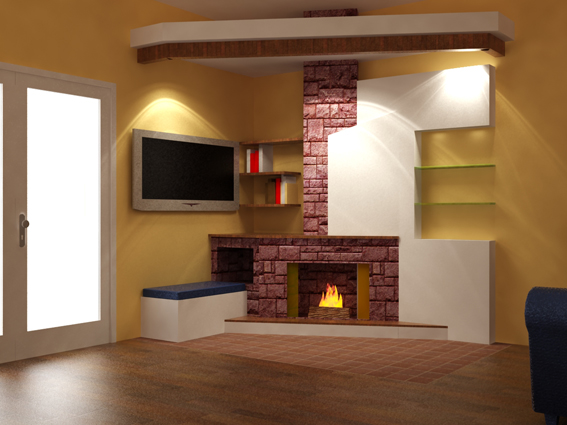 Arredamento e tv video home theater for Tv sopra camino