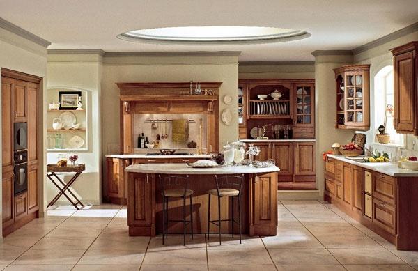 Oikos propone esclusiva cucina classica in ciliegio chiaro for Piastrelle cucina disegnate