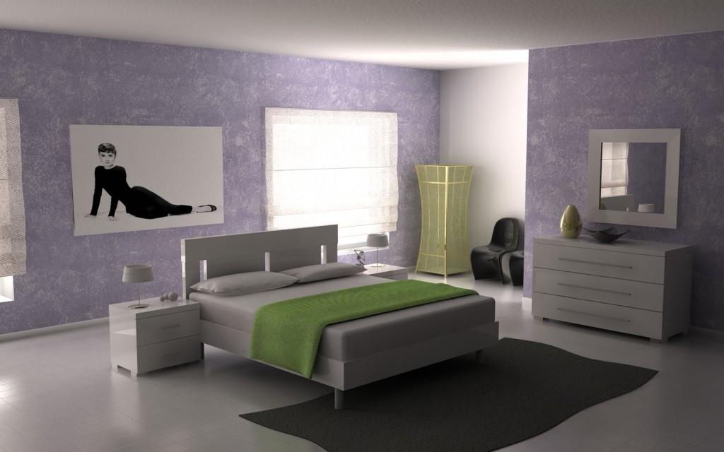Moderna camera da letto bianca laccata - Colori pareti camera da letto moderna ...
