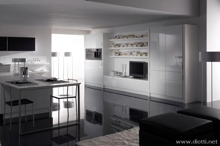 Diotti propone esclusiva moderna cucina laccata bianca for Cucina moderna bianca lucida
