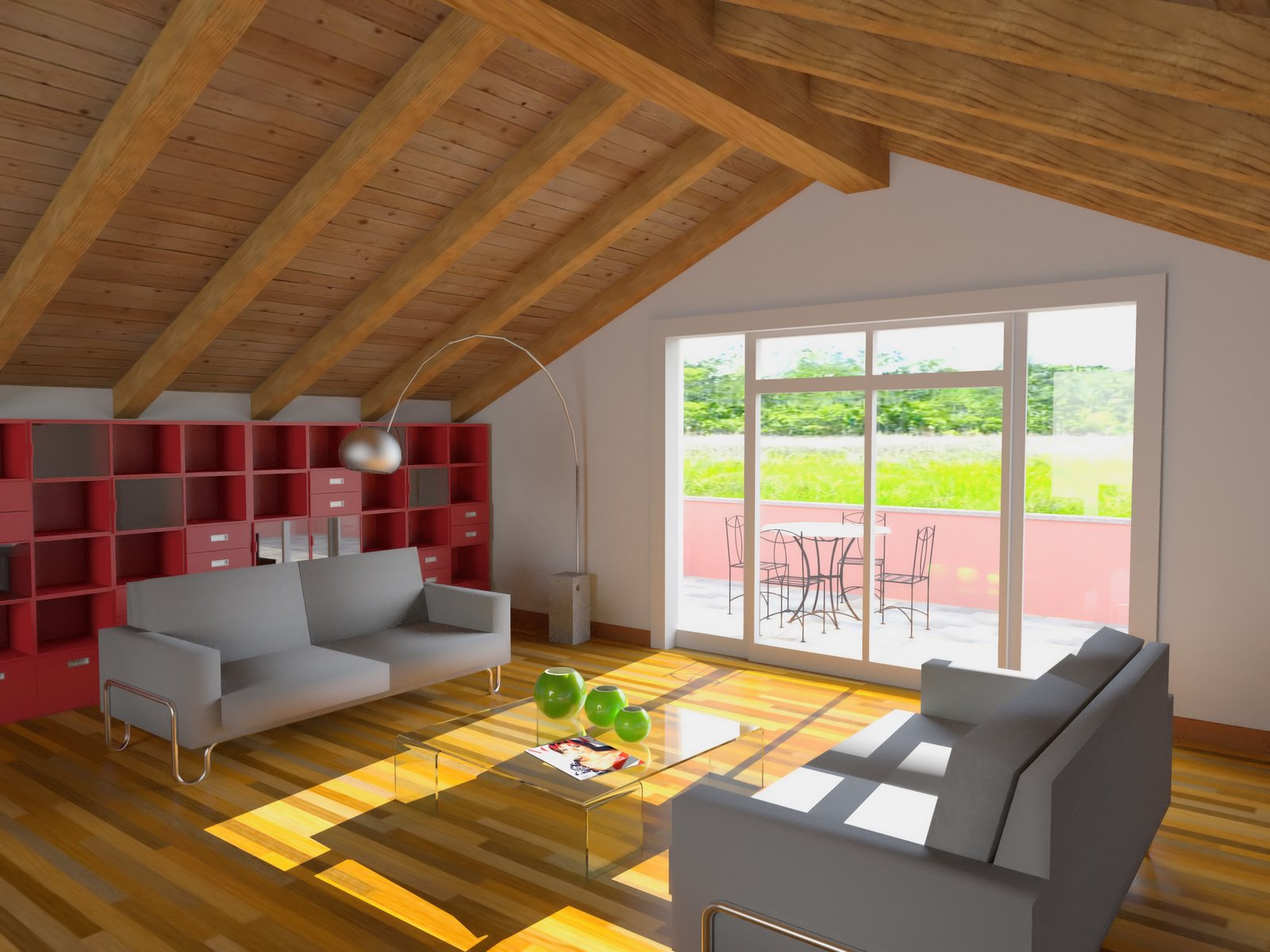 Plafoniere Per Mansarde : Luci per mansarda in legno con travi a vista pavimenti