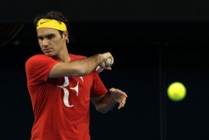 58677 roger federer of switzerland hits a shot during a training s 300x201