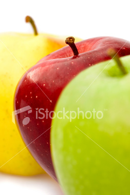 istockphoto 5631353 ripe red yellow green apple composition isolated