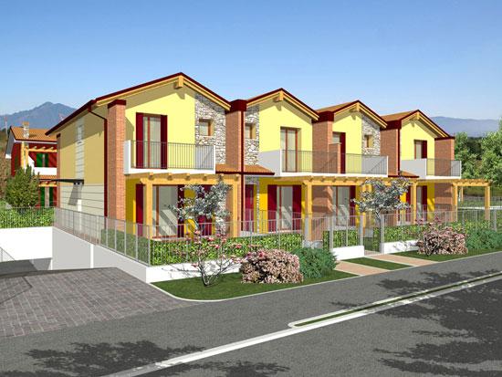 Moderna serie di villette a schiera su tre livelli for Architettura moderna case