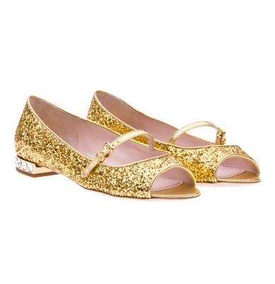 MIU MIU: Ballerine glitter gold con pietre Swarovski, Collezione Autunno/Inverno 2011/2012