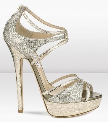 Jimmy Choo: Sandalo Sierra in stampa glitter gold e cristalli Swarovski, con listini intrecciati, Cruise Collection 2012
