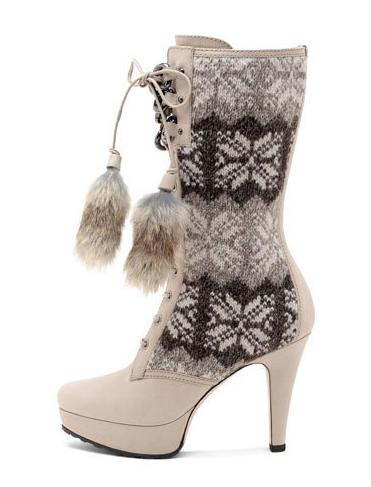 Stivale con tacco e lana tricot con motivo norvegese di Sebastian, Collezione Autunno/Inverno 2011/2012