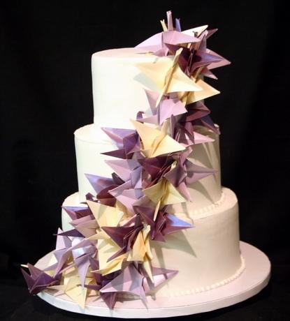 Torta nuziale con le gru di origami