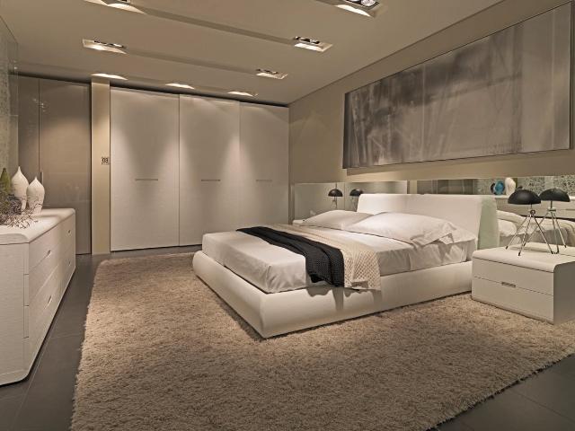 Moderna e rivoluzionaria camera da letto, realizzata con eleganza e ...