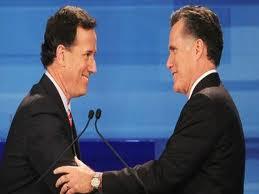 Rick Santorum (a sinistra) e Mitt Romney (a destra)