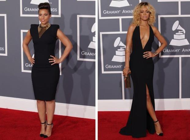 """Grammy Awards 2012: Alicia Keys e Rihanna indossano le stesse scarpe di Christian Louboutin, il modello """"Bis Un Bout""""."""