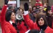 La protesta delle lavoratrici Omsa