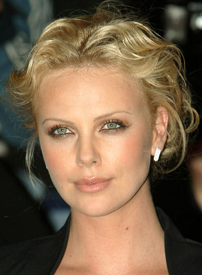 charlize theron curly updo sexy