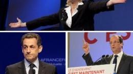 Marine Le Pen (in alto), Sarkozy (a destra) e Hollande (a sinistra)