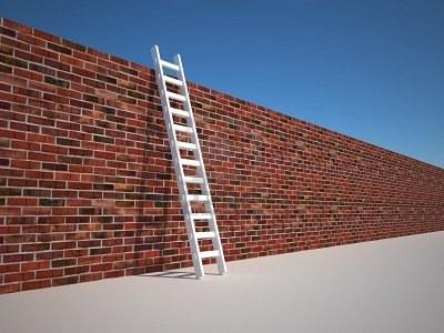 5862517 illustrazione di una scala a pioli appoggiata contro il muro 3d rendering
