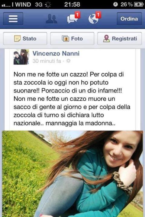 Melissa Bassi offesa su facebook