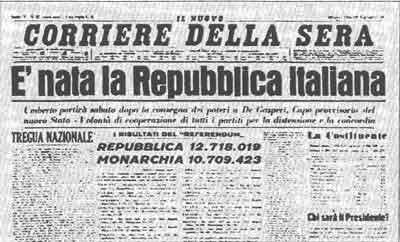 2 giugno 1946: L'Italia diventa una repubblica