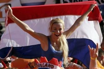 Netherlands soccer fan shouts slogans at the Euro 2012 fan zone in Kharkiv