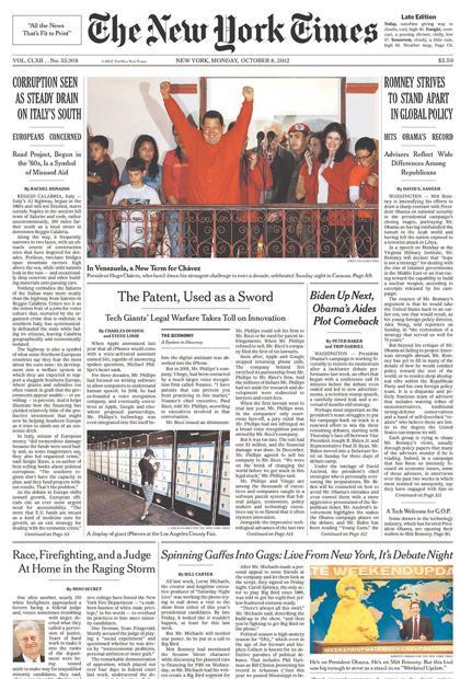 la prima pagina del times di lunedi o8 ottobre