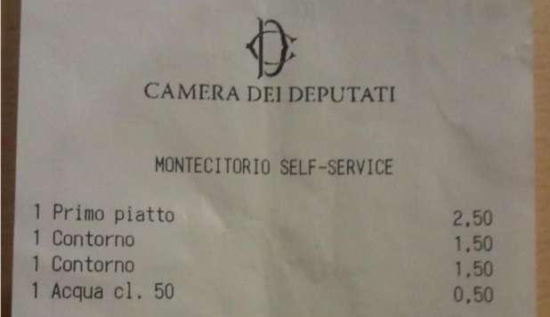 M5S, deputato fotografa lo scontrino della mensa di Montecitorio