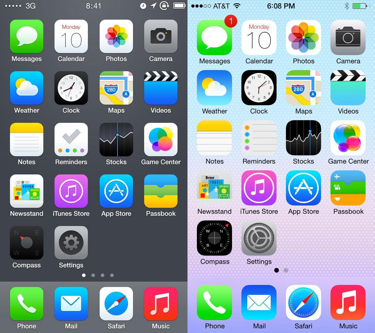 ios 7 redesign comparison 2