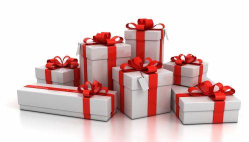 gift boxes over white background 3d illustration