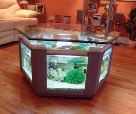 furniture elegant table design with built in aquarium and glass top for living room fish tank ideas