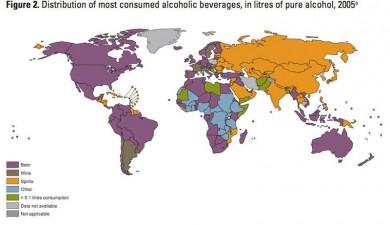 Popolarità delle bevande alcooliche nazione per nazione