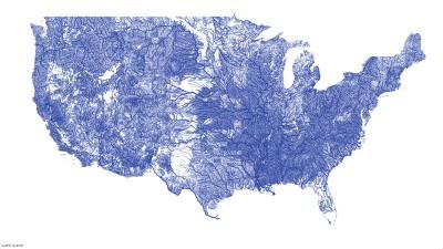 La mappa dei fiumi negli USA