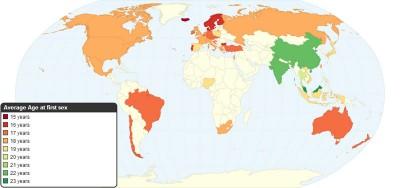 """L'età media della """"prima volta"""" nazione per nazione"""