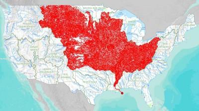 Tutti i fiumi che fluiscono nel Mississipi