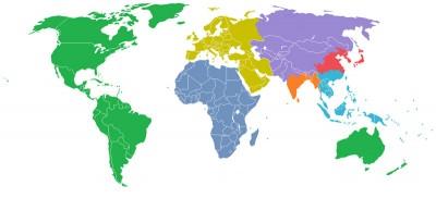 Il mondo diviso in 7 regioni da almeno un milione di abitanti
