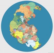La Pangea suddivisa con i confini degli stati attuali
