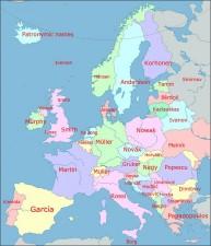 I cognomi più comuni in Europa
