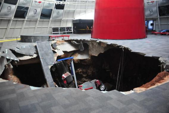 National Corvette Museum photo shows a sink hole that swallowed eight Corvettes in Bowling Green