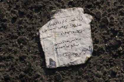 Ritrovato messaggio d'amore scritto da un migrante