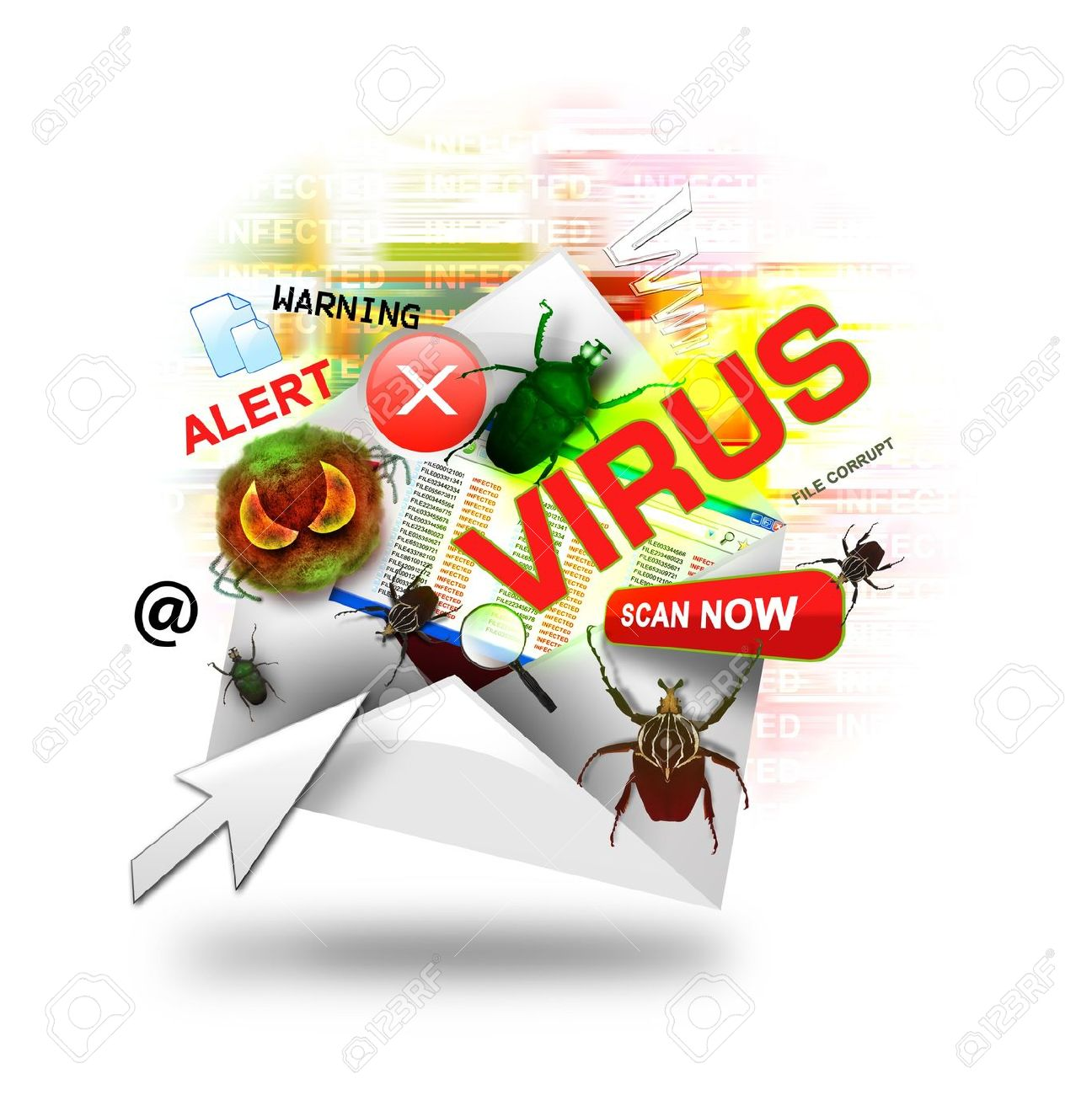 17352410-a-internet-email-is-open-with-various-computer-virus-icons-around-it-there-is-a-white-background-use