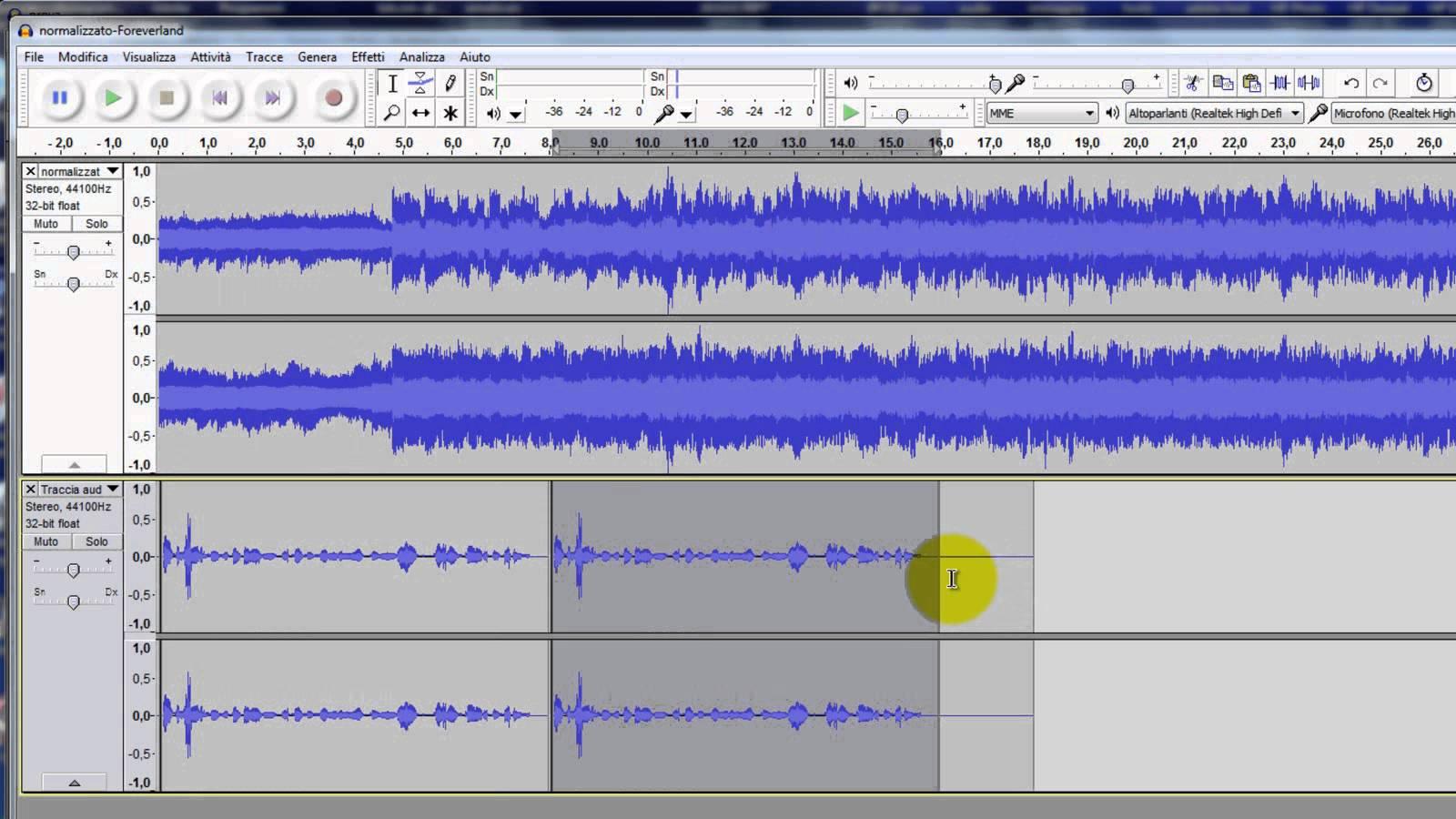 come alzare il volume di una canzone editing
