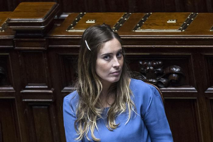 Reforms Minister, Maria Elena Boschi, in the Lower House of the Italian Parliament during the first of a series of confidence votes the government called over its 'Italicum' bill introducing a new election system. The government won with 352 votes in favour, 207 against and one abstention. Rome, 29 aprile 2015. ANSA/ANGELO CARCONI