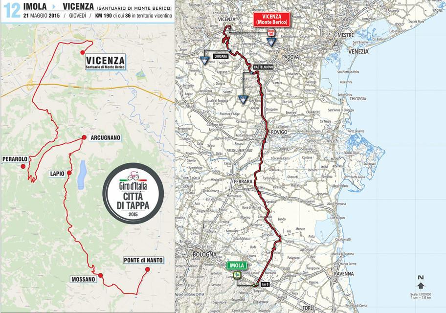 strade chiuse Vicenza Giro d'Italia 2015
