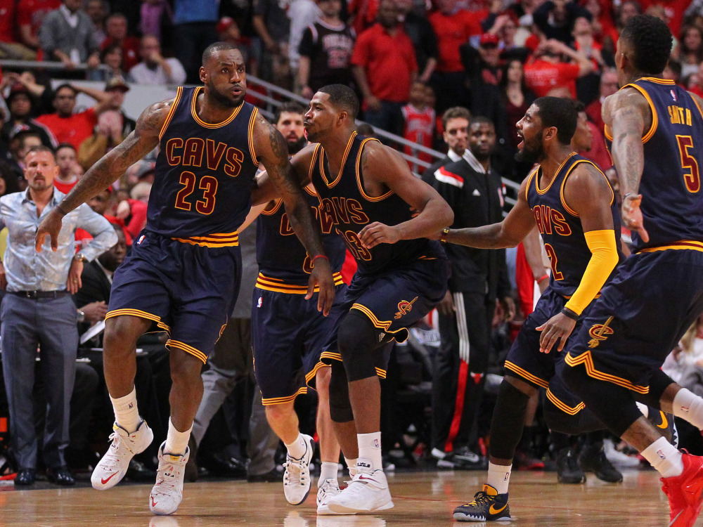 May 10, 2015; Chicago, IL, USA; The Cavaliers Cavaliers forward LeBron James (23) celebrates with teammates after scoring the game winning basket in the second half of game four of the second round of the NBA Playoffs against the Chicago Bulls at the United Center. The Cavaliers won 86-84. Mandatory Credit: Dennis Wierzbicki-USA TODAY Sports ORG XMIT: USATSI-225220 ORIG FILE ID:  20150510_ads_aw6_142.JPG