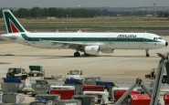 An Alitalia plane is parked at Rome's Fi