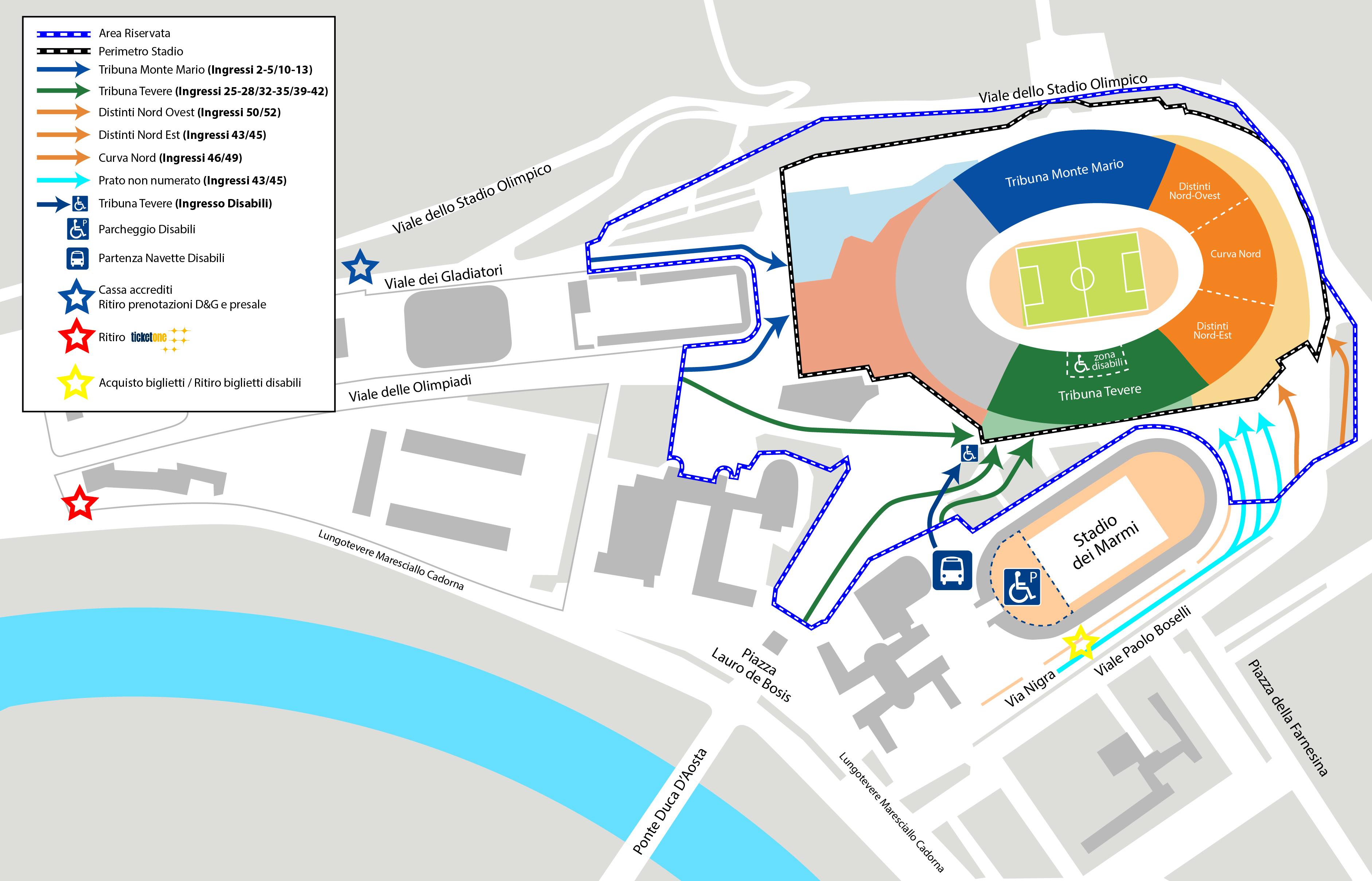 Come arrivare stadio Olimpico Roma Jovanotti